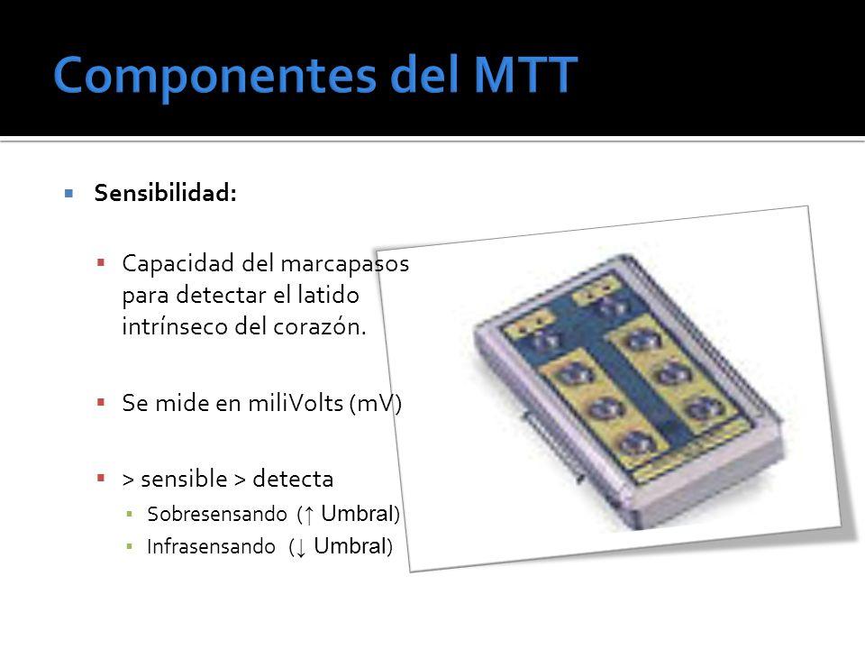Sensibilidad: Capacidad del marcapasos para detectar el latido intrínseco del corazón. Se mide en miliVolts (mV) > sensible > detecta Sobresensando (
