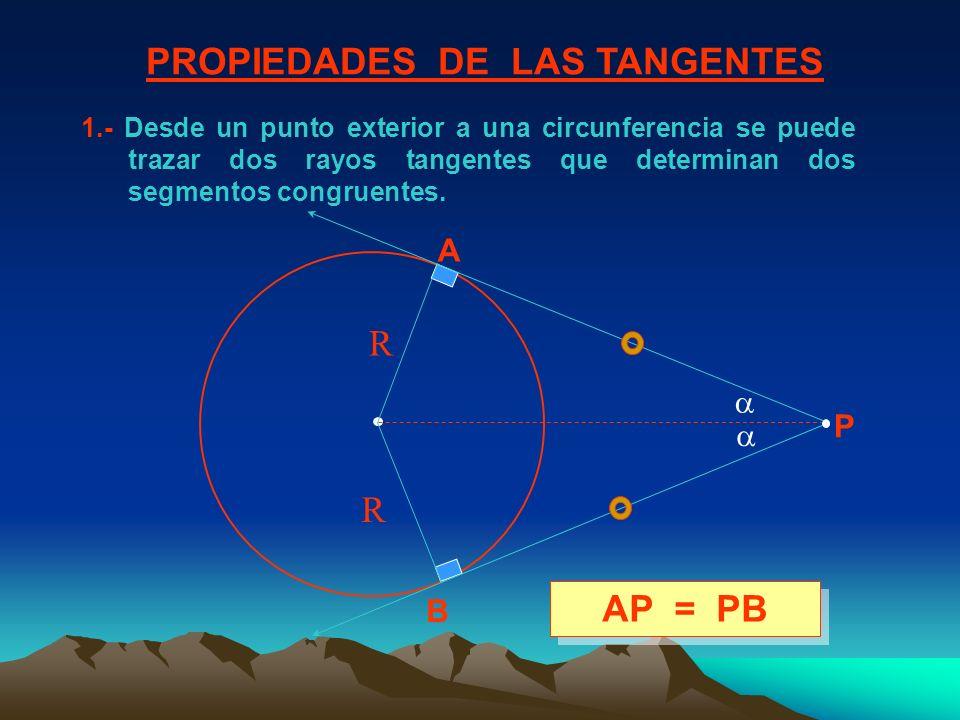 1.- Desde un punto exterior a una circunferencia se puede trazar dos rayos tangentes que determinan dos segmentos congruentes. PROPIEDADES DE LAS TANG
