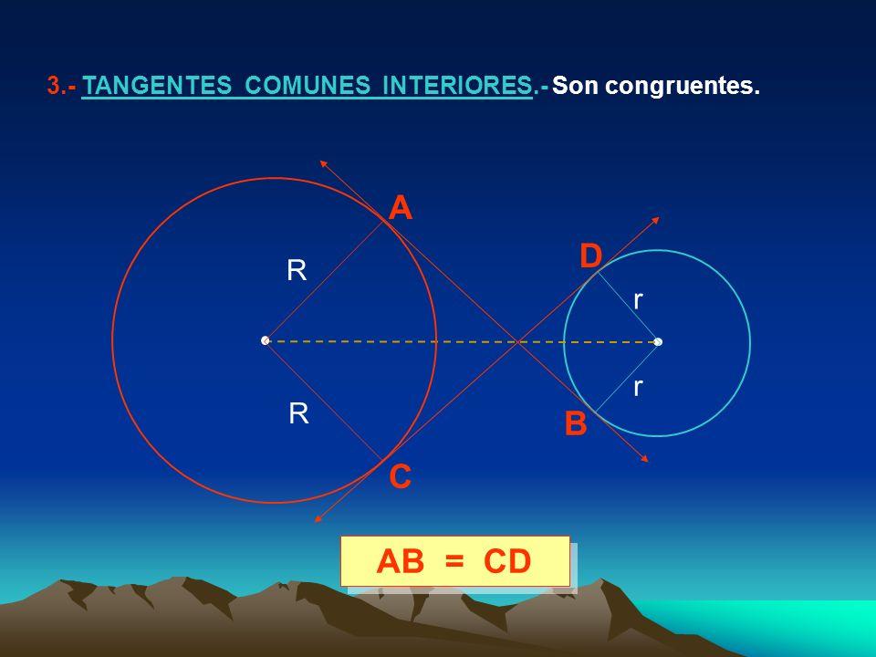 3.- TANGENTES COMUNES INTERIORES.- Son congruentes. AB = CD A B C D R R r r