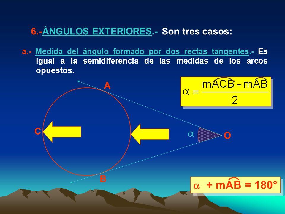 A B C O 6.-ÁNGULOS EXTERIORES.- Son tres casos: a.- Medida del ángulo formado por dos rectas tangentes.- Es igual a la semidiferencia de las medidas de los arcos opuestos.