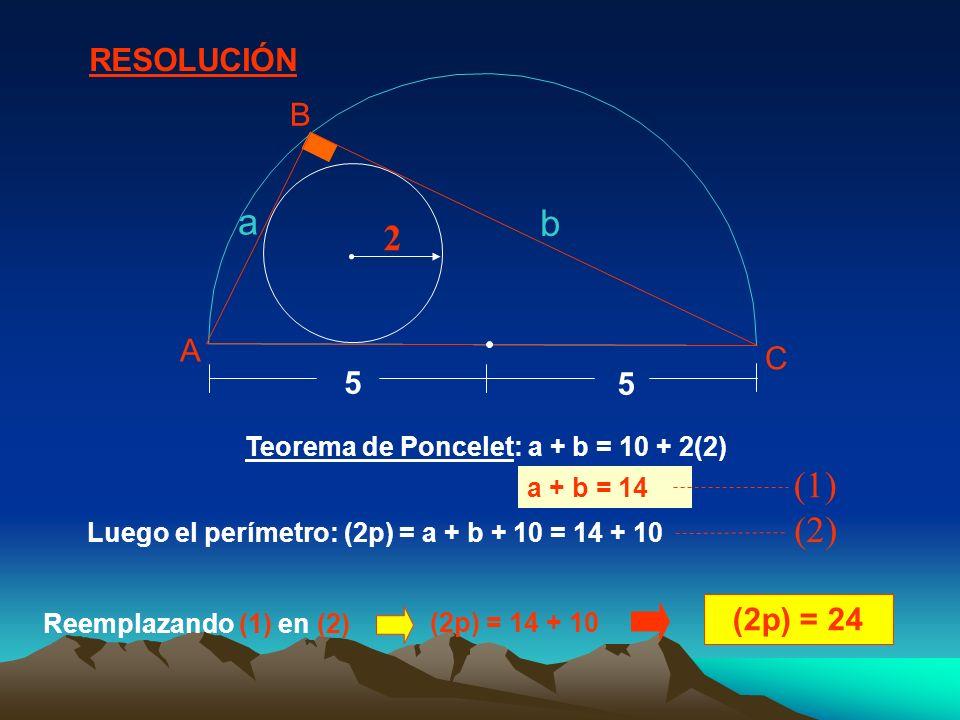 Teorema de Poncelet: a + b = 10 + 2(2) Luego el perímetro: (2p) = a + b + 10 = 14 + 10 (2p) = 24 RESOLUCIÓN 2 5 5 A B C a b a + b = 14 (1) (2) Reempla
