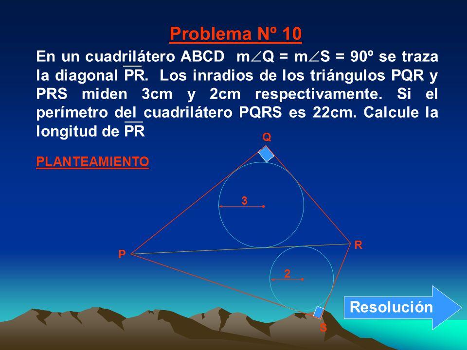 P Q R S 2 3 PLANTEAMIENTO Problema Nº 10 En un cuadrilátero ABCD m Q = m S = 90º se traza la diagonal PR. Los inradios de los triángulos PQR y PRS mid