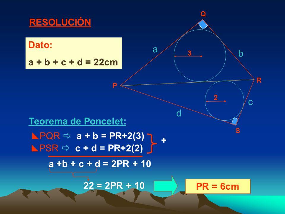Teorema de Poncelet: a b c d PQR a + b = PR+2(3) + a +b + c + d = 2PR + 10 PR = 6cm Dato: a + b + c + d = 22cm PSR c + d = PR+2(2) 22 = 2PR + 10 RESOLUCIÓN P Q R S 2 3