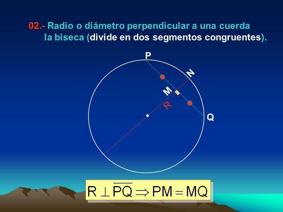 02.- Radio o diámetro perpendicular a una cuerda la biseca (divide en dos segmentos congruentes). P Q M N R