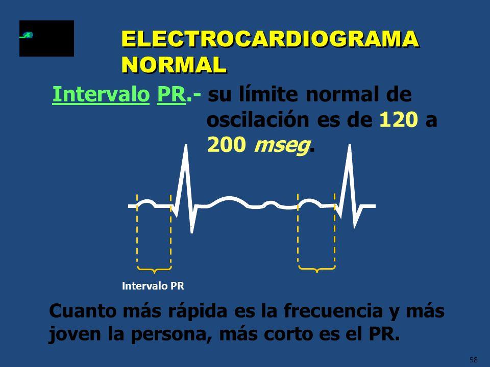 58 ELECTROCARDIOGRAMA NORMAL Intervalo PR.- su límite normal de oscilación es de 120 a 200 mseg. Cuanto más rápida es la frecuencia y más joven la per