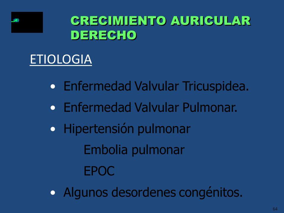 64 CRECIMIENTO AURICULAR DERECHO CRECIMIENTO AURICULAR DERECHO Enfermedad Valvular Tricuspidea. Enfermedad Valvular Pulmonar. Hipertensión pulmonar Em