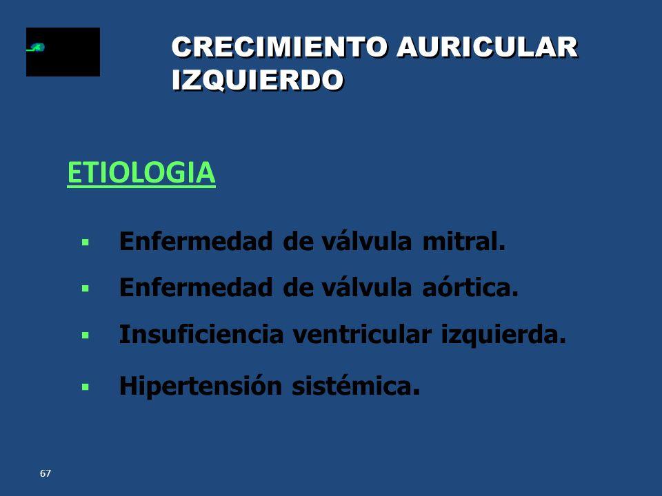 67 CRECIMIENTO AURICULAR IZQUIERDO Enfermedad de válvula mitral. Enfermedad de válvula aórtica. Insuficiencia ventricular izquierda. Hipertensión sist
