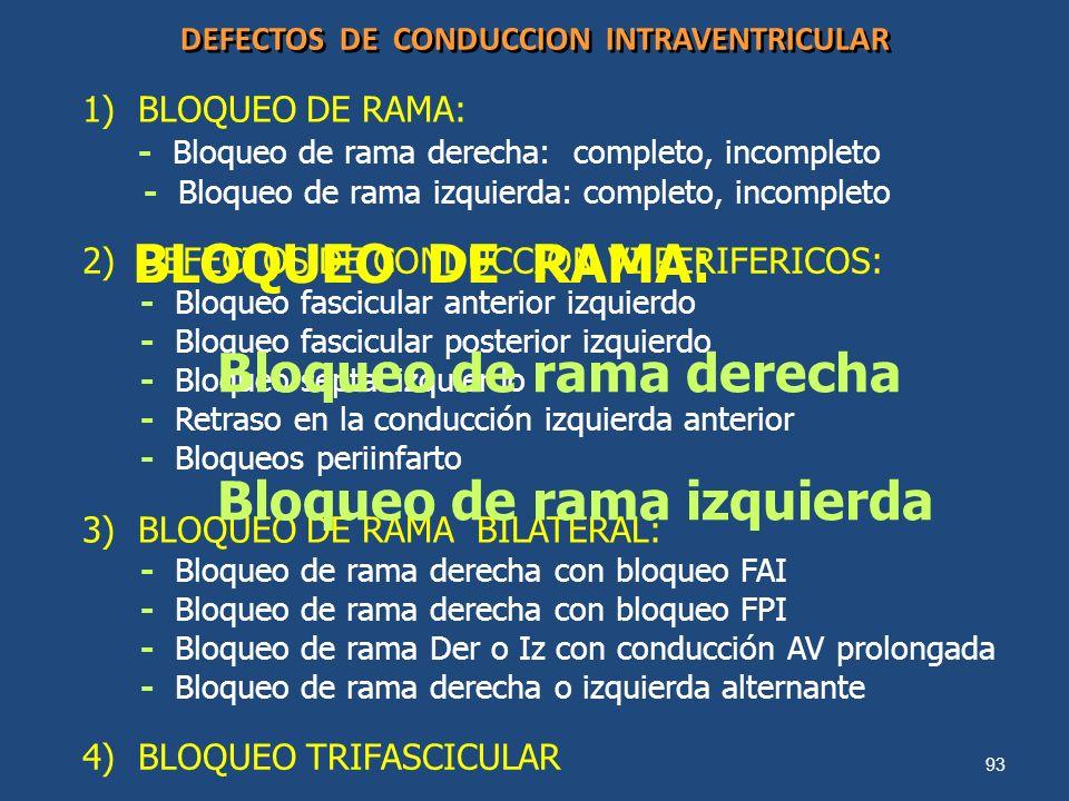 93 DEFECTOS DE CONDUCCION INTRAVENTRICULAR 1) BLOQUEO DE RAMA: - Bloqueo de rama derecha: completo, incompleto - Bloqueo de rama izquierda: completo,