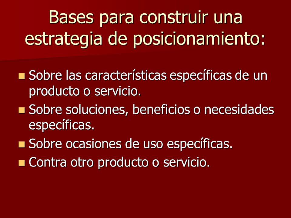Bases para construir una estrategia de posicionamiento: Sobre las características específicas de un producto o servicio. Sobre las características esp