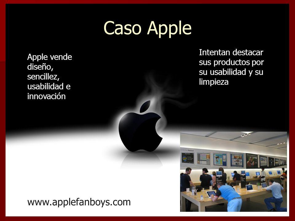 Caso Apple Apple vende diseño, sencillez, usabilidad e innovación Intentan destacar sus productos por su usabilidad y su limpieza www.applefanboys.com