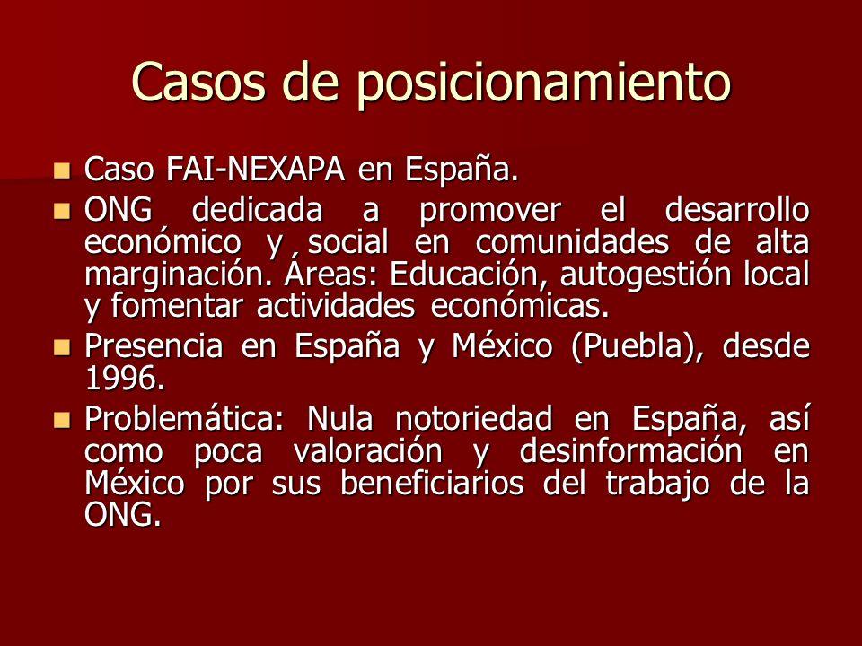 Casos de posicionamiento Caso FAI-NEXAPA en España. Caso FAI-NEXAPA en España. ONG dedicada a promover el desarrollo económico y social en comunidades