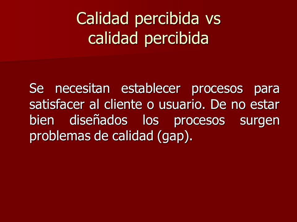 Calidad percibida vs calidad percibida Se necesitan establecer procesos para satisfacer al cliente o usuario. De no estar bien diseñados los procesos