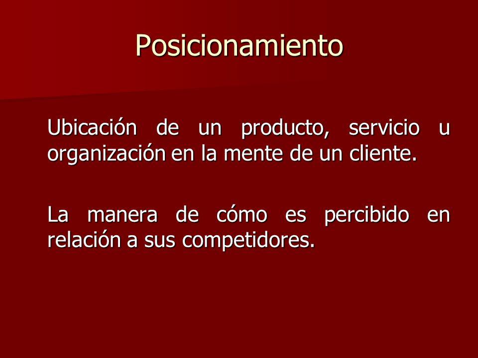 Posicionamiento Ubicación de un producto, servicio u organización en la mente de un cliente. La manera de cómo es percibido en relación a sus competid