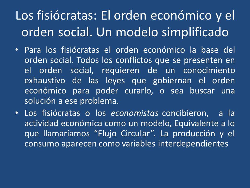 Los fisiócratas: El orden económico y el orden social. Un modelo simplificado Para los fisiócratas el orden económico la base del orden social. Todos