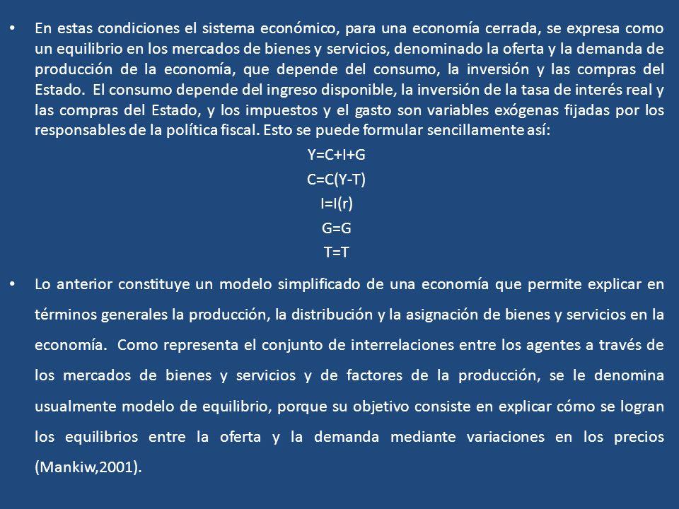 En estas condiciones el sistema económico, para una economía cerrada, se expresa como un equilibrio en los mercados de bienes y servicios, denominado