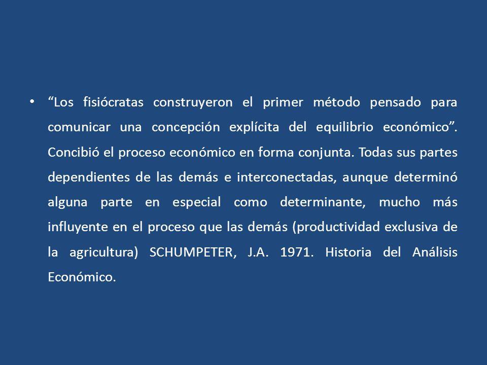 Los fisiócratas construyeron el primer método pensado para comunicar una concepción explícita del equilibrio económico. Concibió el proceso económico