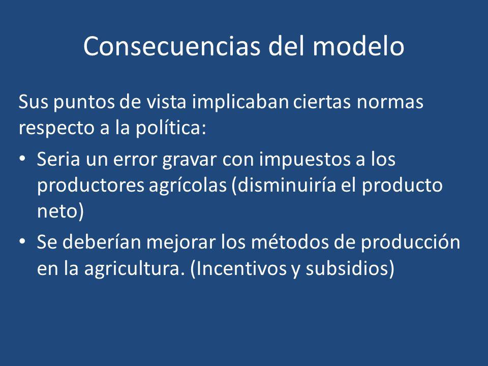 Consecuencias del modelo Sus puntos de vista implicaban ciertas normas respecto a la política: Seria un error gravar con impuestos a los productores a