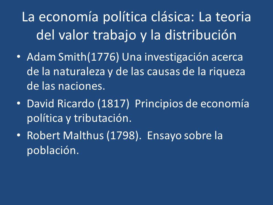 La economía política clásica: La teoria del valor trabajo y la distribución Adam Smith(1776) Una investigación acerca de la naturaleza y de las causas