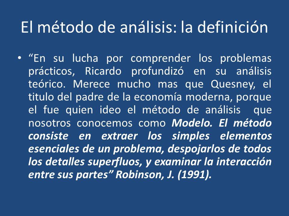 El método de análisis: la definición En su lucha por comprender los problemas prácticos, Ricardo profundizó en su análisis teórico. Merece mucho mas q