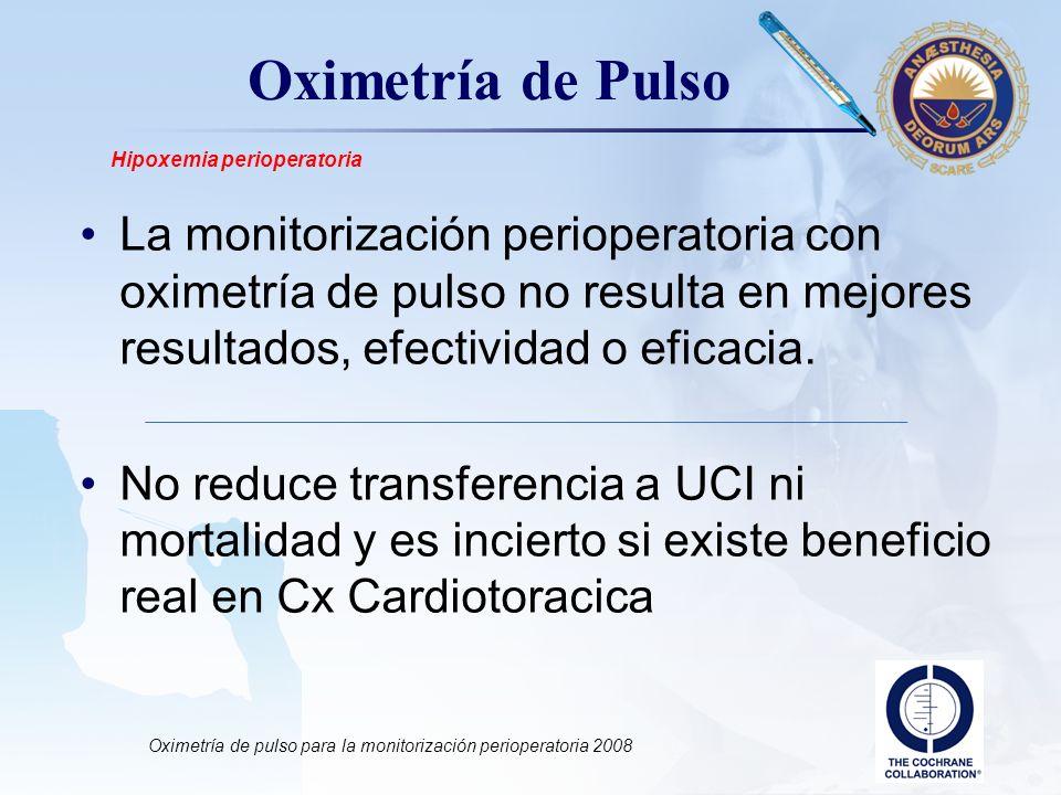LOGO Oximetría de Pulso La monitorización perioperatoria con oximetría de pulso no resulta en mejores resultados, efectividad o eficacia. No reduce tr