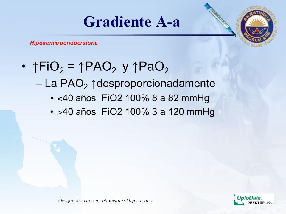 LOGO Gradiente A-a FiO 2 = PAO 2 y PaO 2 –La PAO 2 desproporcionadamente ˂ 40 años FiO2 100% 8 a 82 mmHg ˃ 40 años FiO2 100% 3 a 120 mmHg Hipoxemia pe
