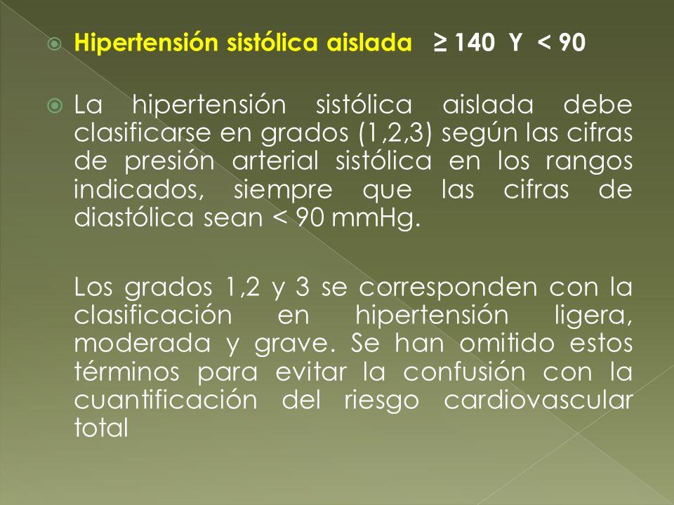 Hipertensión sistólica aislada 140 Y < 90 La hipertensión sistólica aislada debe clasificarse en grados (1,2,3) según las cifras de presión arterial s