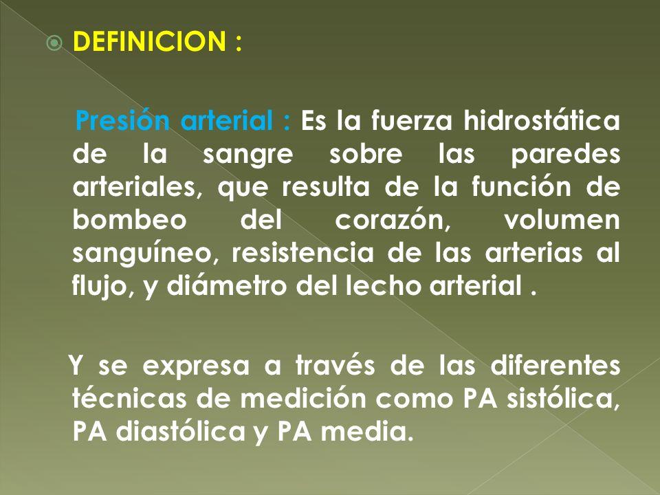 DEFINICION : Presión arterial : Es la fuerza hidrostática de la sangre sobre las paredes arteriales, que resulta de la función de bombeo del corazón,