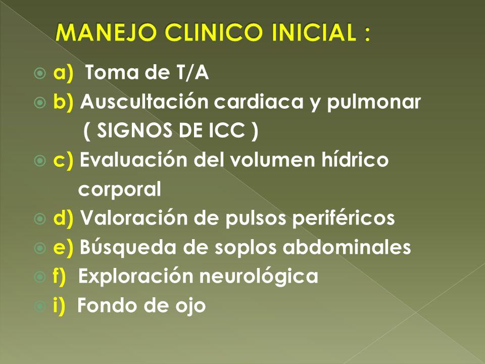 a) Toma de T/A b) Auscultación cardiaca y pulmonar ( SIGNOS DE ICC ) c) Evaluación del volumen hídrico corporal d) Valoración de pulsos periféricos e)