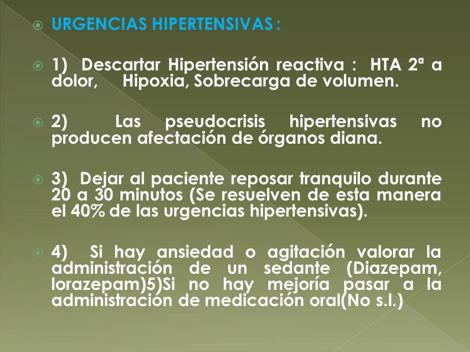 URGENCIAS HIPERTENSIVAS : 1) Descartar Hipertensión reactiva : HTA 2ª a dolor, Hipoxia, Sobrecarga de volumen. 2) Las pseudocrisis hipertensivas no pr