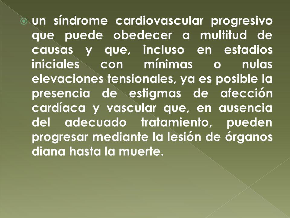 un síndrome cardiovascular progresivo que puede obedecer a multitud de causas y que, incluso en estadios iniciales con mínimas o nulas elevaciones ten