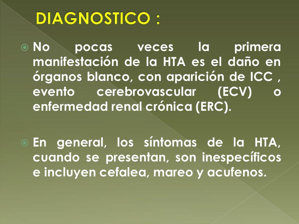 No pocas veces la primera manifestación de la HTA es el daño en órganos blanco, con aparición de ICC, evento cerebrovascular (ECV) o enfermedad renal