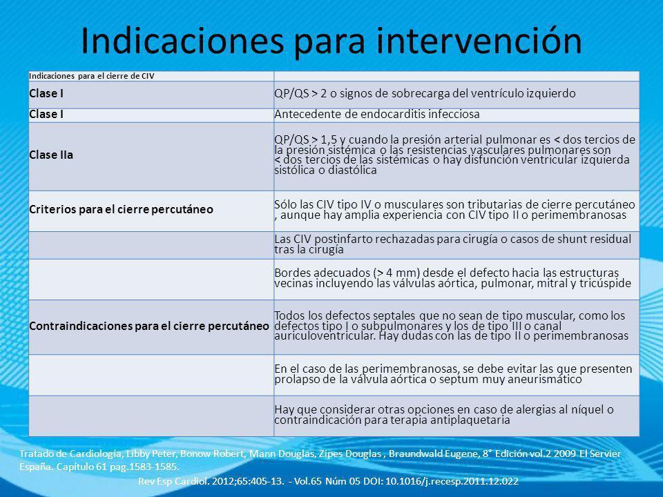 Indicaciones para intervención Px sintomático Cociente QP/QS > 1,5/1 Presión sistólica art. Pulmonar >50mmhg AI y VI aumentados de tamaño o deterioro