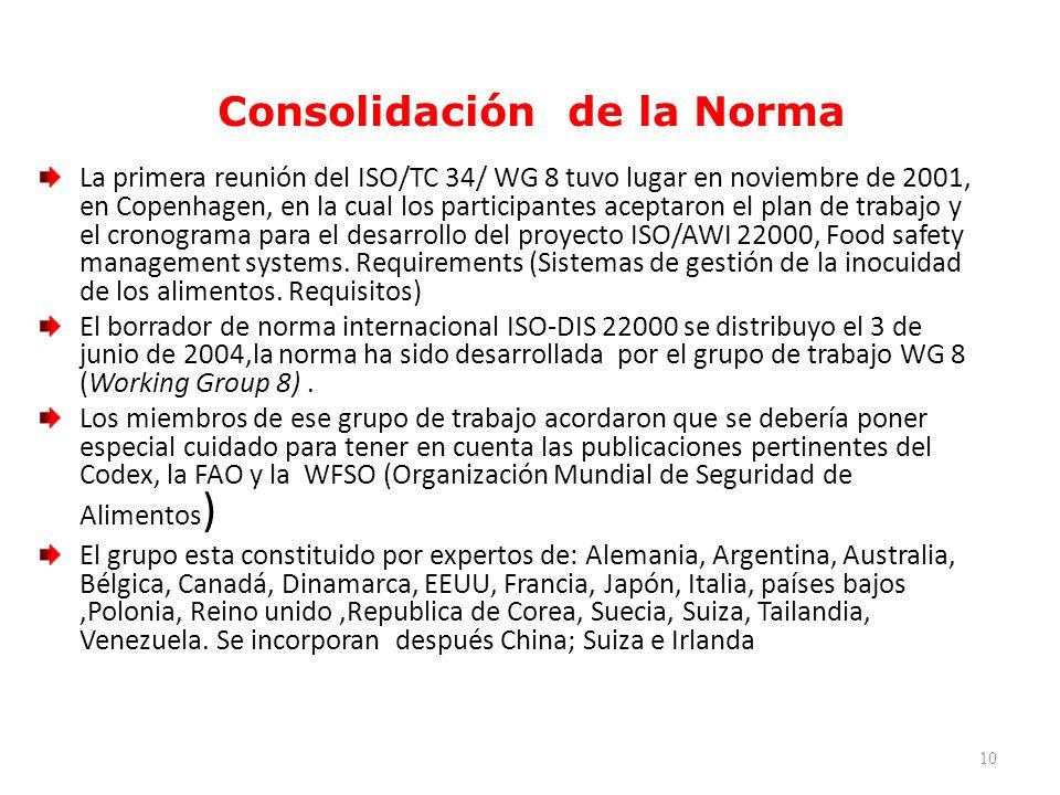 Consolidación de la Norma La primera reunión del ISO/TC 34/ WG 8 tuvo lugar en noviembre de 2001, en Copenhagen, en la cual los participantes aceptaro