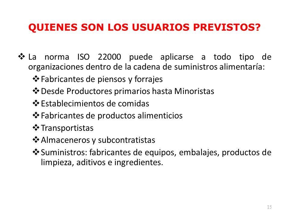 QUIENES SON LOS USUARIOS PREVISTOS? La norma ISO 22000 puede aplicarse a todo tipo de organizaciones dentro de la cadena de suministros alimentaría: F