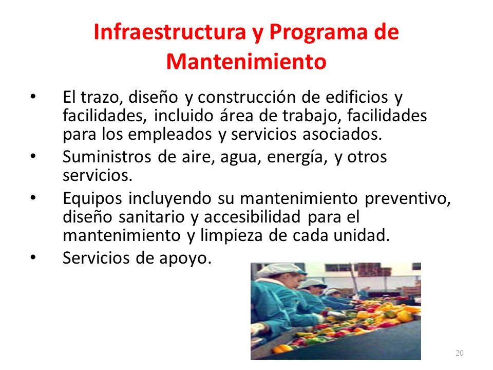 Infraestructura y Programa de Mantenimiento El trazo, diseño y construcción de edificios y facilidades, incluido área de trabajo, facilidades para los