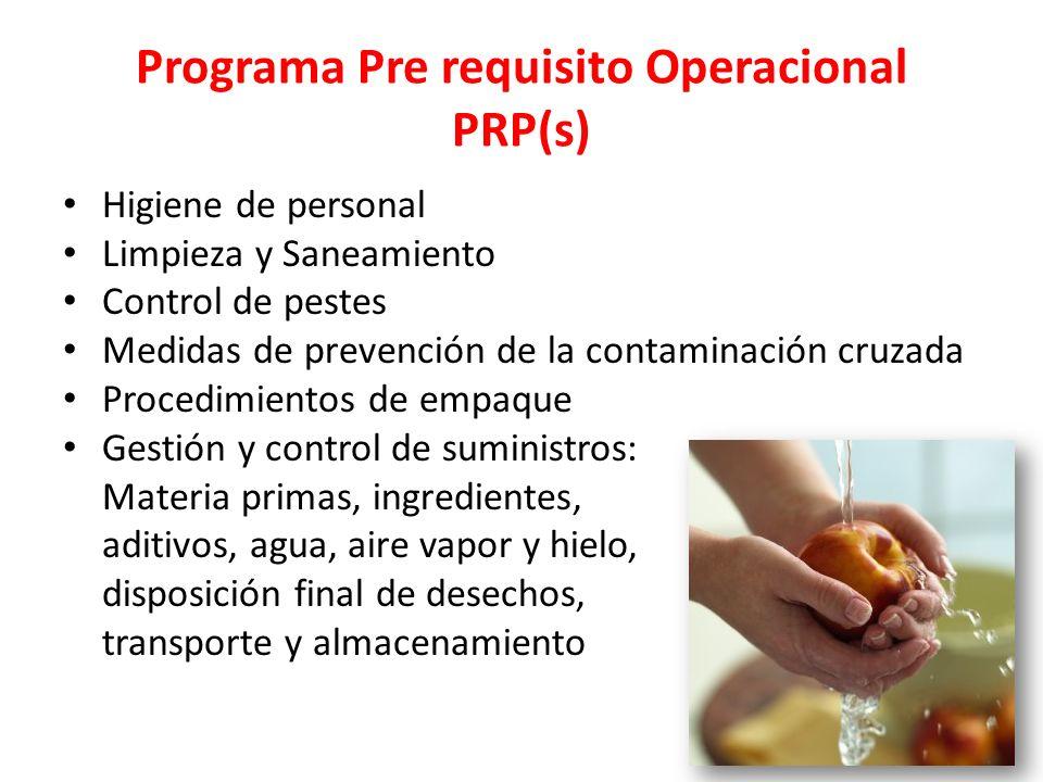 Programa Pre requisito Operacional PRP(s) Higiene de personal Limpieza y Saneamiento Control de pestes Medidas de prevención de la contaminación cruza