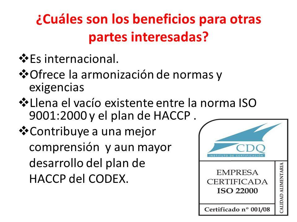 ¿Cuáles son los beneficios para otras partes interesadas? Es internacional. Ofrece la armonización de normas y exigencias Llena el vacío existente ent