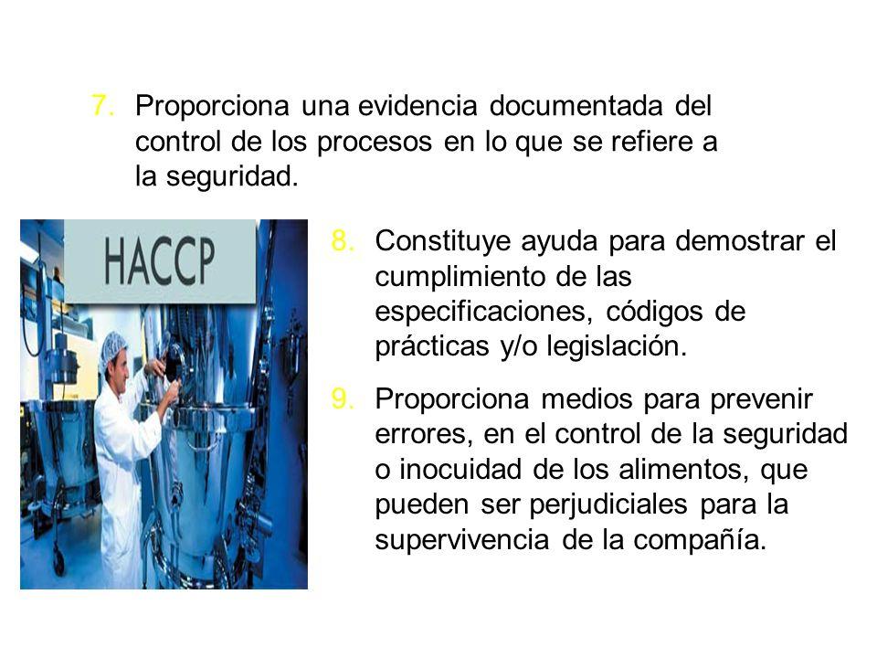 7.Proporciona una evidencia documentada del control de los procesos en lo que se refiere a la seguridad. 8.Constituye ayuda para demostrar el cumplimi
