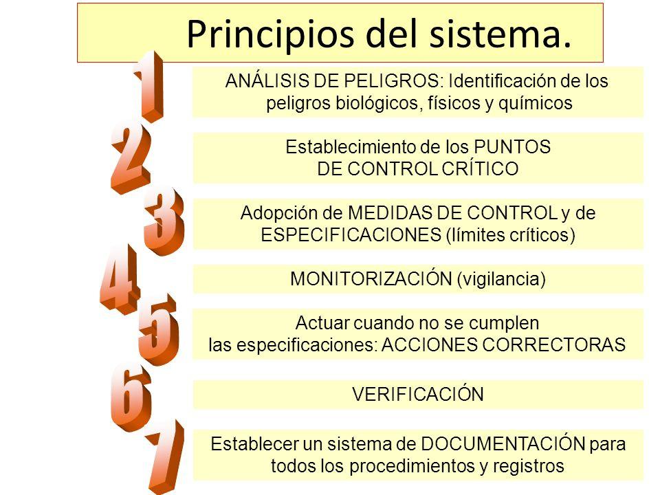 ANÁLISIS DE PELIGROS: Identificación de los peligros biológicos, físicos y químicos Establecimiento de los PUNTOS DE CONTROL CRÍTICO Adopción de MEDID