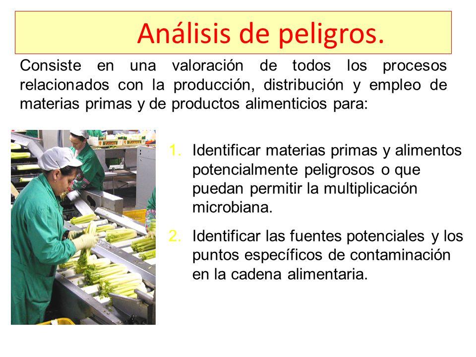 Análisis de peligros. Consiste en una valoración de todos los procesos relacionados con la producción, distribución y empleo de materias primas y de p