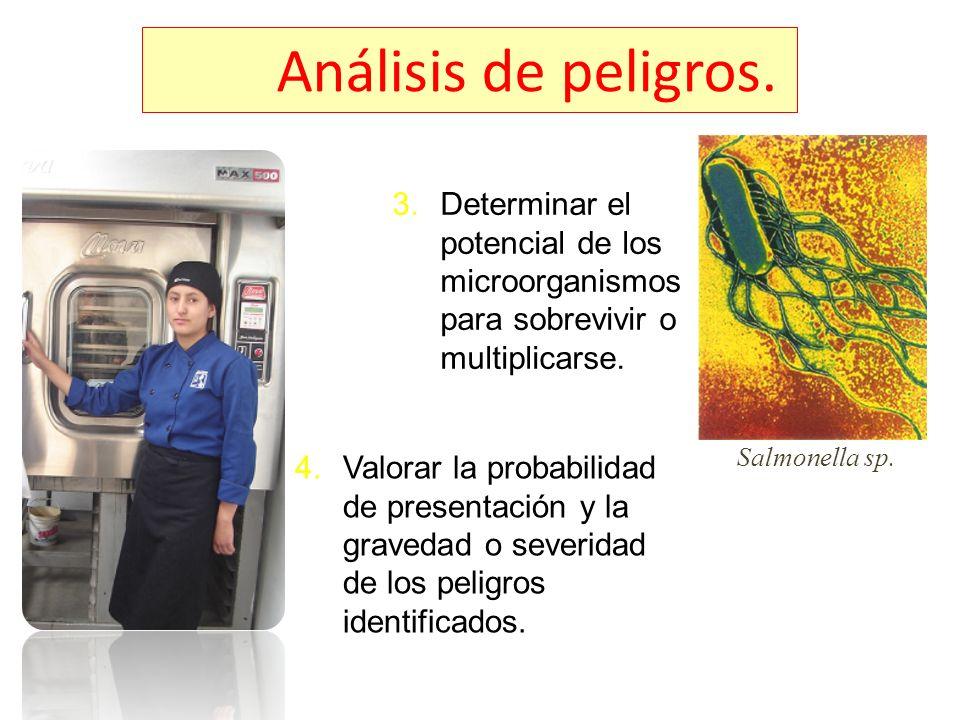 Análisis de peligros. 3.Determinar el potencial de los microorganismos para sobrevivir o multiplicarse. 4.Valorar la probabilidad de presentación y la