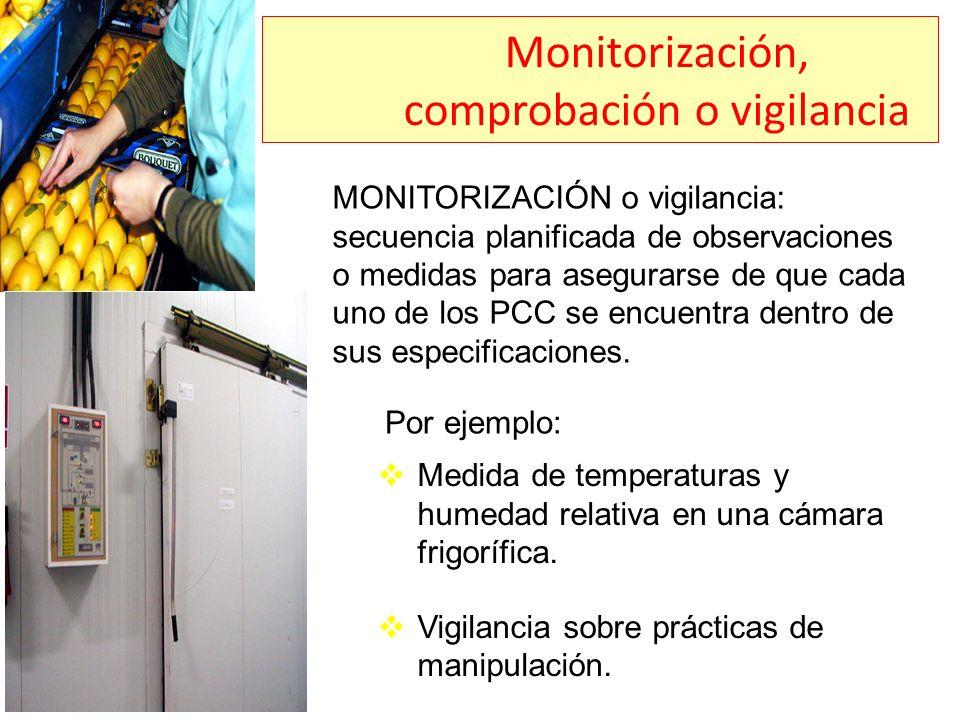 Monitorización, comprobación o vigilancia MONITORIZACIÓN o vigilancia: secuencia planificada de observaciones o medidas para asegurarse de que cada un