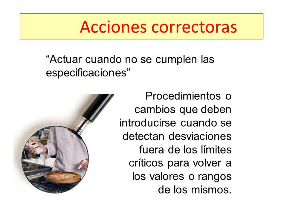 Acciones correctoras Actuar cuando no se cumplen las especificaciones Procedimientos o cambios que deben introducirse cuando se detectan desviaciones