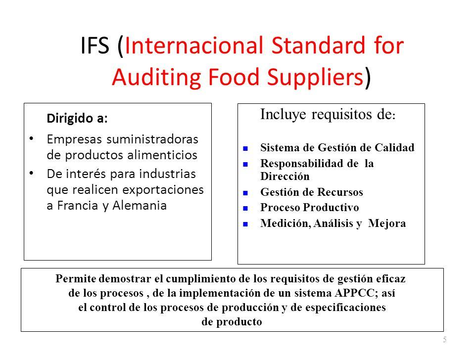 IFS (Internacional Standard for Auditing Food Suppliers) Dirigido a: Empresas suministradoras de productos alimenticios De interés para industrias que