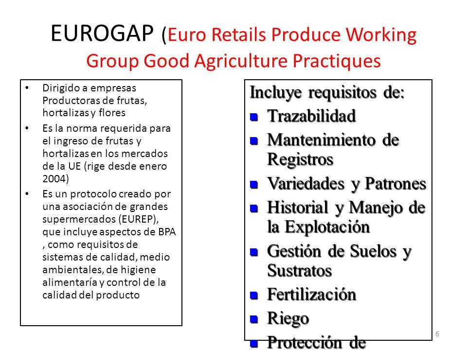 EUROGAP (Euro Retails Produce Working Group Good Agriculture Practiques Dirigido a empresas Productoras de frutas, hortalizas y flores Es la norma req