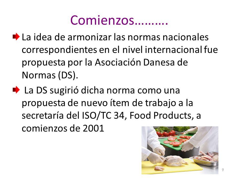 Consolidación de la Norma La primera reunión del ISO/TC 34/ WG 8 tuvo lugar en noviembre de 2001, en Copenhagen, en la cual los participantes aceptaron el plan de trabajo y el cronograma para el desarrollo del proyecto ISO/AWI 22000, Food safety management systems.
