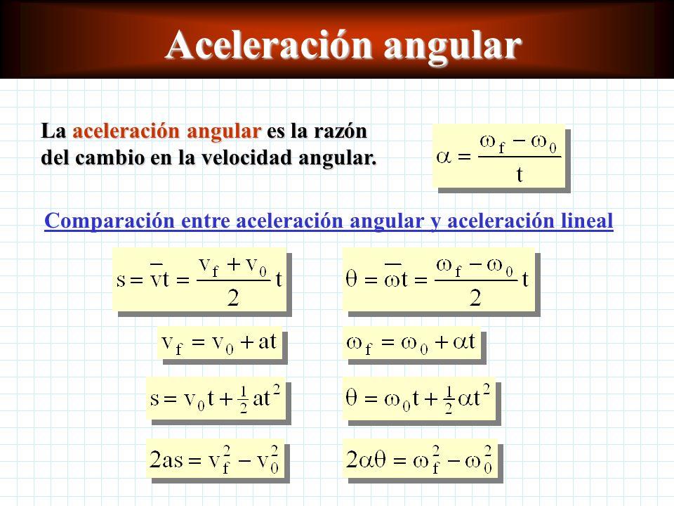 Velocidad angular La velocidad angular es la razón de cambio del desplazamiento angular con respecto al tiempo.