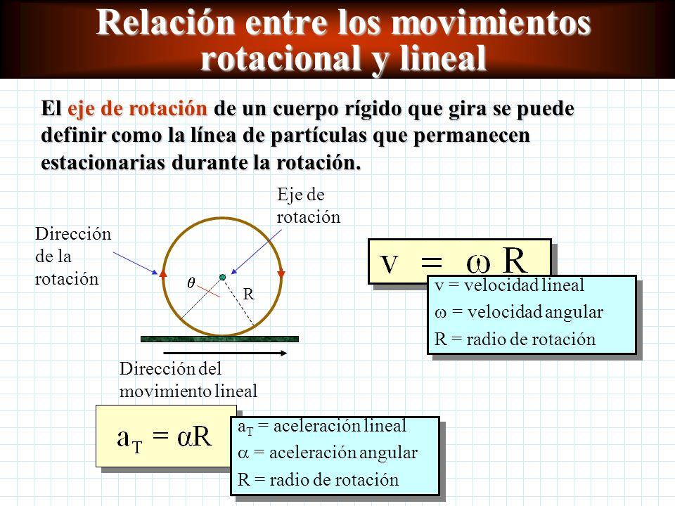 Relación entre los movimientos rotacional y lineal El eje de rotación de un cuerpo rígido que gira se puede definir como la línea de partículas que permanecen estacionarias durante la rotación.