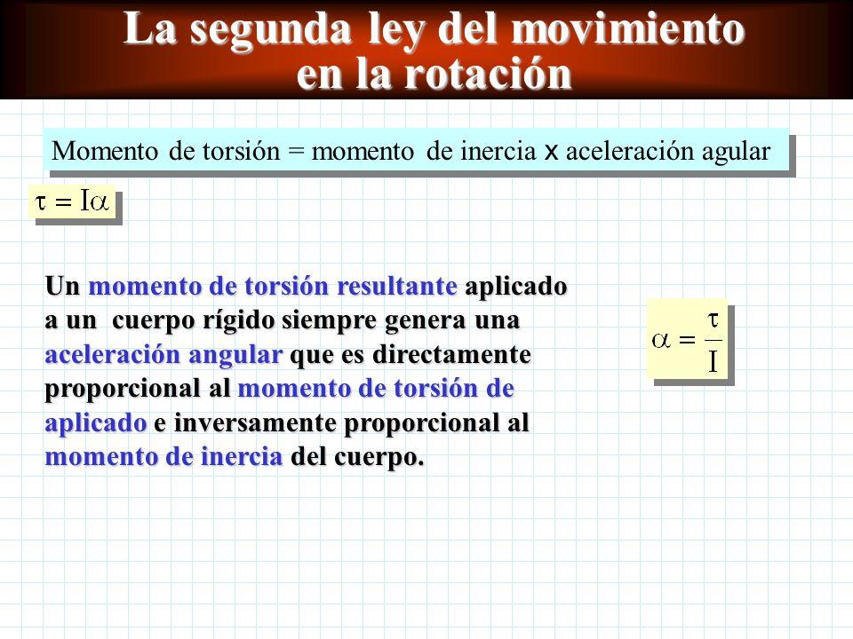 La segunda ley del movimiento en la rotación Un momento de torsión resultante aplicado a un cuerpo rígido siempre genera una aceleración angular que es directamente proporcional al momento de torsión de aplicado e inversamente proporcional al momento de inercia del cuerpo.