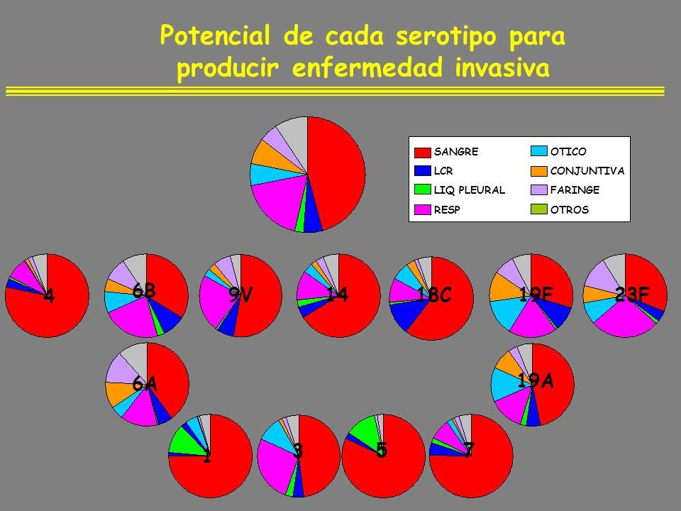 Potencial de cada serotipo para producir enfermedad invasiva SANGRE LCR LIQ PLEURAL RESP OTICO CONJUNTIVA FARINGE OTROS 6A 73 1 5 19A 4 6B 9V1419F23F1